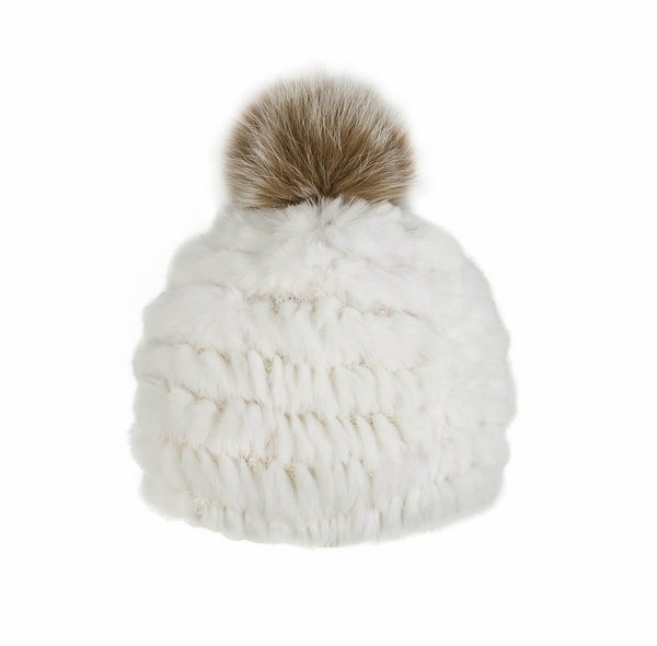 Knitted Rabbit Fur Beanie with Fox Fur Pom Pom