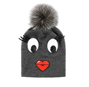 Grey Knitted Face Beanie with Fox Fur Pom Pom