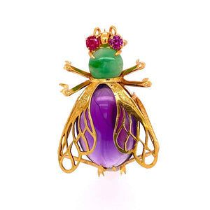 12 Carat Amethyst, Jade and Ruby Gold Bee Bug Brooch Pin Estate Fine Jewelry