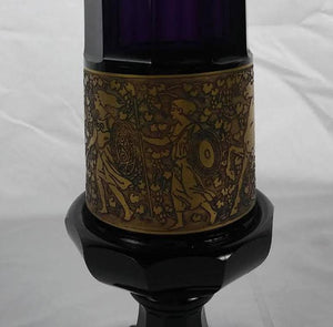 Secessionist Moser Amethyst Crystal Vase with Gold Etched Frieze