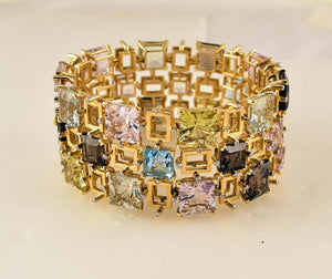 Blue Topaz Quartz Amethyst and Diamond Tony Duquette Gold Bracelet Fine Jewelry