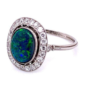 3 Carat Australian Black Opal Diamond Platinum Cocktail Ring Estate Fine Jewelry