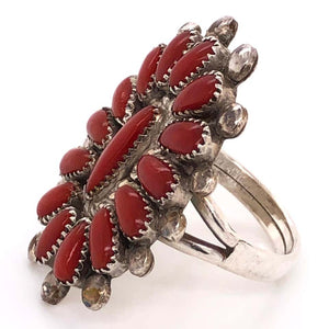 Native American Zuni Petit Point Coral 925 Silver Ring