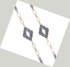 Cynthia Ann Jewels Rhodium Sterling Silver and Gold Marquise Layering Chain