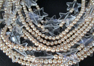 Designer Multi Strand Faux Pearl Lucite Crystal Star Necklace Courrèges