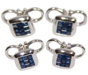 Sapphire Gold Cufflink and Matching Shirt Stud Dress Set Estate Fine Jewelry