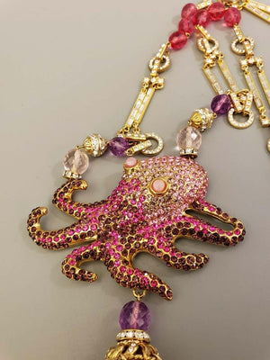 Designer Carlo Zini Signed Octopus Vintage Runway Crystal Necklace Italy