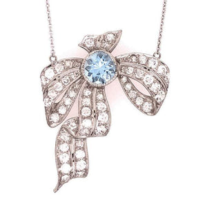 Art Deco Aquamarine and Diamond Platinum Bow Necklace Fine Estate Jewelry