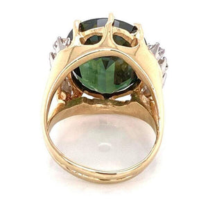 10.92 Green Sapphire and Diamond Gold Cocktail Ring Fine Estate Jewelry