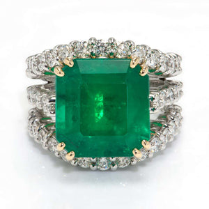 Magnificent 9.81 Carat Emerald and Diamond Gold Ring