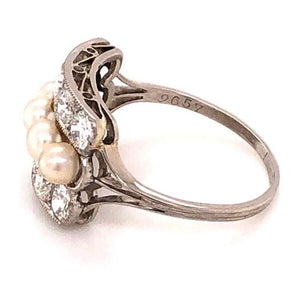 1.50 Carat Diamond and Pearl Art Deco Engagement Ring Fine Estate Jewelry