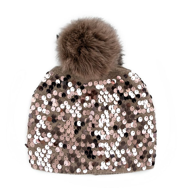 Sequins Knitted Beanie with Fox Fur Pom Pom