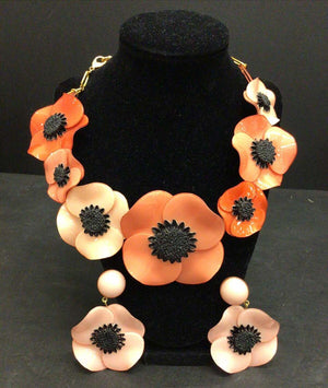 Designer Signed Ciléa Paris Pink Poppy Flower Necklace and Clip Earrings France