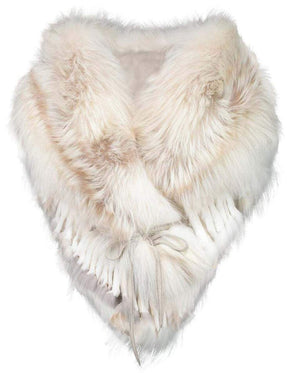 Luxurious Rich Ecru Fox Fur Statement Stole Wrap