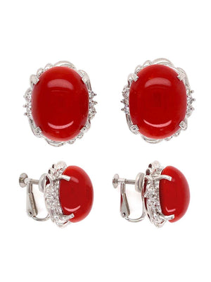 Red Coral and Diamond Platinum Retro Style Clip Earrings Fine Estate Jewelry