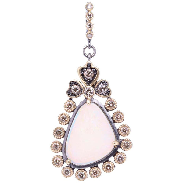 Opal and Diamond Gold Pendant Necklace Cynthia Ann Jewels Estate Fine Jewelry