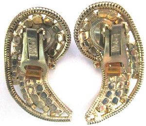 Vintage Designer Sparkling Ice CZ Rhinestone Clip Earrings Signed Hobé