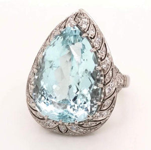 Art Deco 17.80 Carat Pear Aquamarine Diamond Platinum Ring Estate Fine Jewelry
