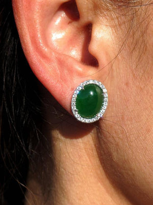 Natural Jade Diamond Gold Statement Earrings