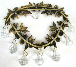 Vintage Joseff of Hollywood Chandelier Crystal Floral Wreath Retro Brooch Pin