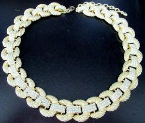 Signed SCASSI Designer Golden Rope Link Crystal Necklace