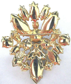 SCHIAPARELLI Signed Multi Color Rhinestone Golden Scroll Designer Brooch Pin