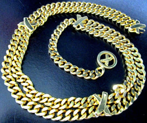 Vintage Signed PALOMA PICASSO Golden Link Chains Designer Necklace Belt