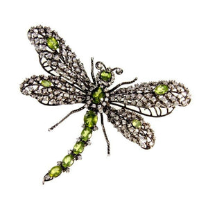 Stunning Dragonfly Peridot CZ Sterling Silver Tremblant Articulated Brooch Pin