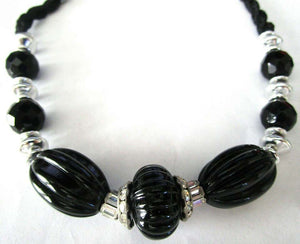 LANVIN Vintage Black Melon Lucite Beads and Sparkling Ice Rhinestone CZ Necklace