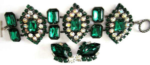 Designer Lawrence Vrba Vintage Emerald Green Rhinestone CZ Bracelet and Earrings