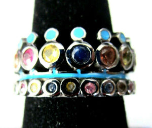 Designer Matthew Campbell Laurenza Blue Enamel Gem Sterling Silver Crown Ring