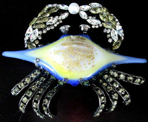 Designer Signed Moans Couture Blown Glass and Crystal Figural Crab Brooch Pin