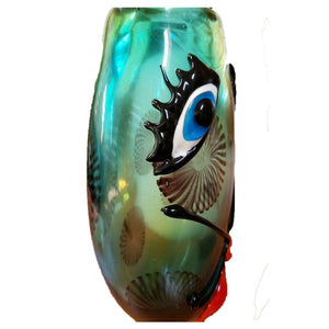 Large Murano Face and Abstract Designs Picasso Style Art Glass Vase Estate Find