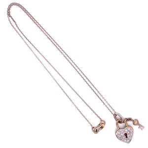 Diamond Pave Heart Lock and Key 18k Gold Pendant Necklace Estate Fine Jewelry