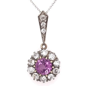 Edwardian 1.03 Carat Pink Sapphire Platinum Gold Necklace Estate Fine Jewelry