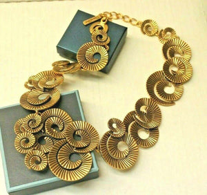 Signed Designer Oscar De La Renta Statement Golden Link Necklace