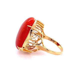 19 Carat Red Coral Art Deco Style Gold Cocktail Ring Estate Fine Jewelry