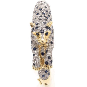 Captivating Sapphire and Diamond Gold Panther Bracelet Fine Estate Jewelry