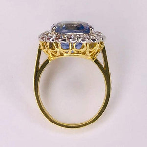 13.18 Carat Sapphire No Heat Platinum on 18 Karat Gold Ring Estate Fine Jewelry