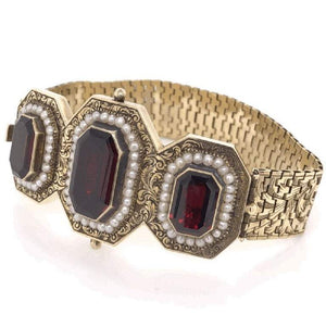 Victorian Emerald-Cut Garnets and Seed Pearl Gold Bracelet Fine Estate Jewelry
