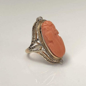 Antique Victorian Carved Coral Diamond Gold Ring Estate Fine Jewelry