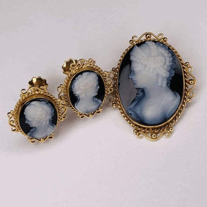 Victorian Carved Onyx Cameo Gold Brooch Pendant and Earrings Fine Estate Jewelry