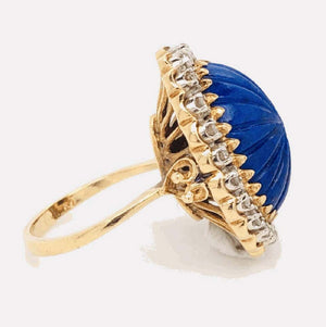 Carved Lapis Lazuli and Diamond Cocktail 18 Karat Gold Ring Estate Fine Jewelry