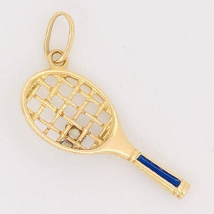 Tennis Racket Diamond Blue Enamel Gold Charm Pendant Estate Fine Jewelry