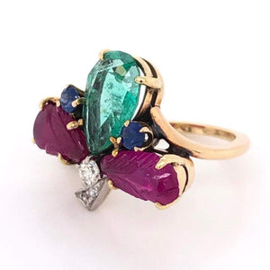 Emerald Ruby Sapphire and Diamond Tutti Fruiti Cocktail Ring Fine Estate Jewelry