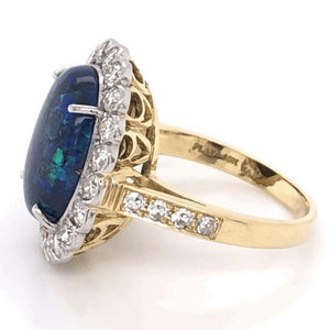 6.00 Carat Black Opal and Diamond Platinum Cocktail Ring Estate Fine Jewelry