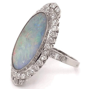 5.00 Carat Opal and Diamond Platinum Ring Estate Fine Jewelry