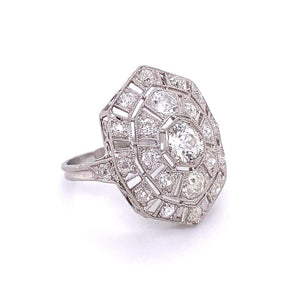 Diamond Platinum Art Deco Cocktail Ring Estate Fine Jewelry