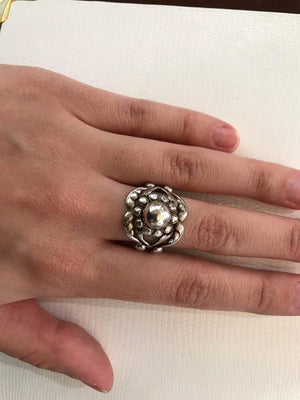 Vintage Georg Jensen Moonlight Blossom #10 Ball Sterling Silver Ring Estate Find
