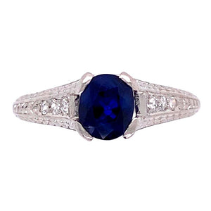 1.05 Carat Sapphire and Diamond Platinum Art Deco Style Ring Fine Estate Jewelry